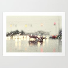 driving in the rain Art Print