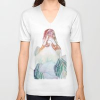 bianca V-neck T-shirts featuring fata bianca by Francesca D'Angelo