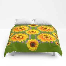 GEOMETRIC SUNFLOWERS AVOCADO-GREEN ART Comforters