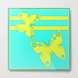 Bright lemon turquoise pattern . The gonepteryx butterfly . Metal Print