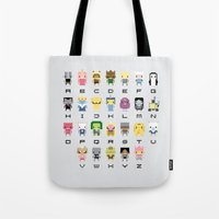 lemongrab Tote Bags featuring Ad Venture Time Alphabet by PixelPower