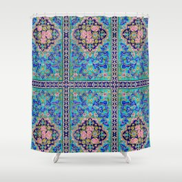 Turquoise Floral tile Shower Curtain