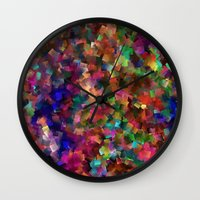 confetti Wall Clocks featuring confetti by ThysWyldeLyfe