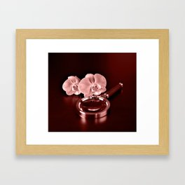 Orchid and magnifying glass in Marsala tones Framed Art Print