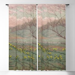 Daffodil Sunset landscape painting by William Anderson Coffin Blackout Curtain