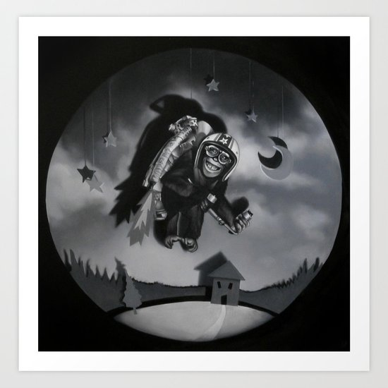 Monkey See Monkey Flew Art Print