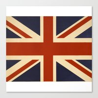 british flag Canvas Prints featuring British Flag Vintage Illustration by MY  HOME