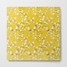 Cream Cherry Blossom Branches on Gold Metal Print