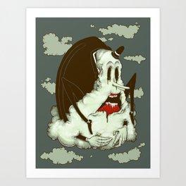 Creep Cloud Face Melt Art Print