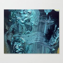 Plasticity // abstract texture painting, blue Canvas Print