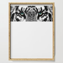 Dressed To Kill - White Tiger Art By Sharon Cummings Serving Tray