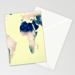 World Map : Gall Peters Pastel Stationery Cards