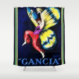 Vintage Gancia Gran Spumante Dry Lithograph Advertising Wall Art Style #3. Shower Curtain