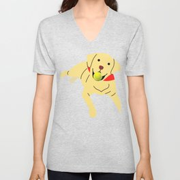 Cute Labrador Playing Fetch Unisex V-Neck