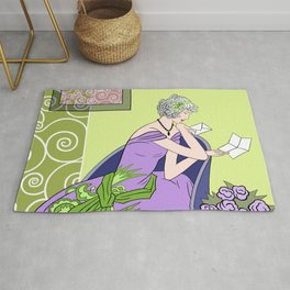 CLARICE: Art Deco Lady - Spring Lilac Rug