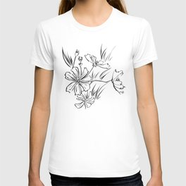 Cosmos Flowers Ink Drawing T-shirt