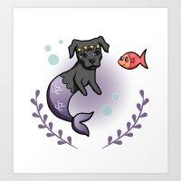 Mermaid Pit Bull 2 Art Print