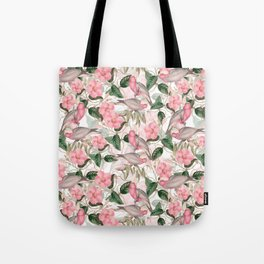 Vintage & Shabby Chic - Pink Tropical Birds And Flowers Tote Bag