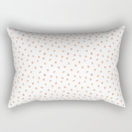 Sweet Peach Polka Dot, White Rectangular Pillow