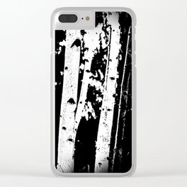 Black and White Birch Trees Fade Out Clear iPhone Case