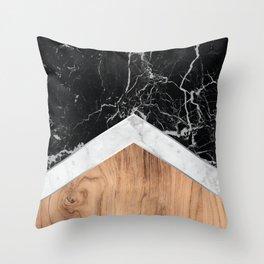 Stone Arrow Pattern - Black & White Marble & Wood #366 Throw Pillow