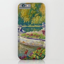 Lake and Gardens with Statuary Landscape by Nikolay Bogdanov-Belsky iPhone Case