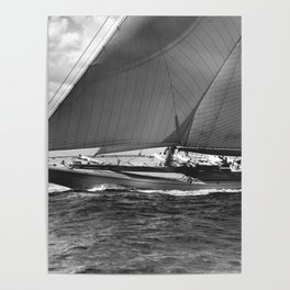 12-meter Sailing Yacht America's Cup Races nautical black and white photograph Poster