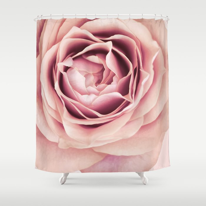My Heart is Safe with You, My Friend - pale pink rose macro Shower Curtain