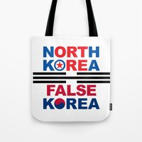 korea Tote Bags featuring North Korea by pollylitical