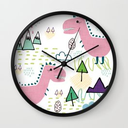 Cool T-rex Fun party pink #homedecor Wall Clock