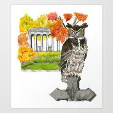 Great Horned Owl in Graceland Cemetery Art Print