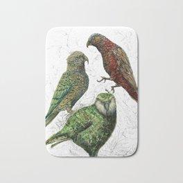 Three native parrots of New Zealand Bath Mat