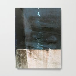 Dark Blue and Brown Colorblock Minimalist Abstract Metal Print