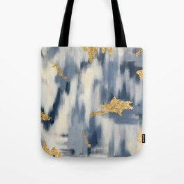 Blue and Gold Ikat Pattern Abstract Tote Bag
