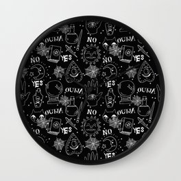 Ouija halloween potions crystal ball witch magic sorcerer pattern Wall Clock