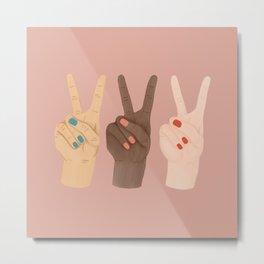 Peace Hands Pink Metal Print