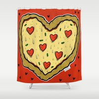 valentines Shower Curtains featuring Valentines Day Pizza Pizza by NickyDigital