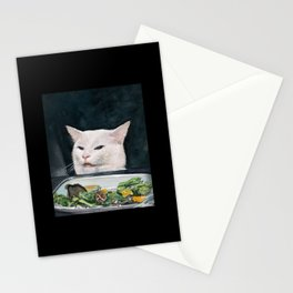 Woman Yelling at Cat Meme-4 Stationery Cards