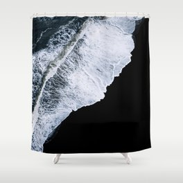 Waves crashing on a black sand beach – minimalist Landscape Photography Shower Curtain