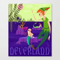 neverland Canvas Prints featuring Neverland by Kathryn Hudson Illustrations