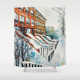 Brooklyn New York In Snow Storm Shower Curtain