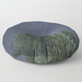 Pine trees with the northern michigan night sky Floor Pillow