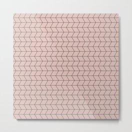 Geometric Diamond Pattern Neutral Pink Metal Print