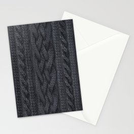 Charcoal Cable Knit Stationery Cards