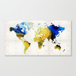 World Map 16 - Yellow And Blue Art By Sharon Cummings Canvas Print