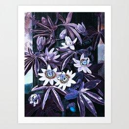 Temple of Flora Midnight Blue Purple Art Print
