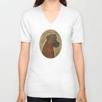 lab V-neck T-shirts featuring chocolate lab by bri.buckley