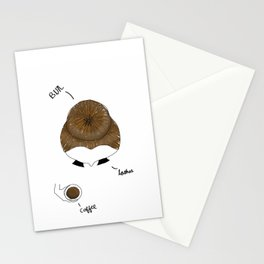 Bun, Coffee, Lashes Stationery Cards