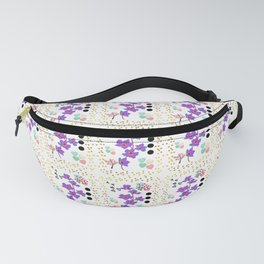 Bengal Trumpet Vine Flowers With Hearts and Colorful Dots  Fanny Pack