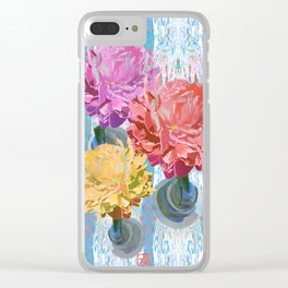 Trio of Peonies - Summer Pastels Clear iPhone Case
